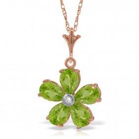Genuine 2.22 Ctw Peridot & Diamond Necklace Jewelry