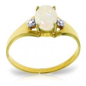 Genuine 0.46 Ctw Opal & Diamond Ring Jewelry 14kt