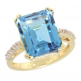 Natural 5.48 Ctw Swiss-blue-topaz & Diamond Engagement