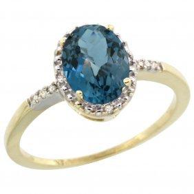Natural 1.2 Ctw London-blue-topaz & Diamond Engagement