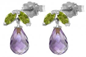 Genuine 3.4 Ctw Amethyst & Peridot Earrings Jewelry