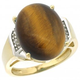 Natural 11.02 Ctw Tiger-eye & Diamond Engagement Ring