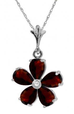 Genuine 2.22 Ctw Garnet & Diamond Necklace Jewelry 14kt