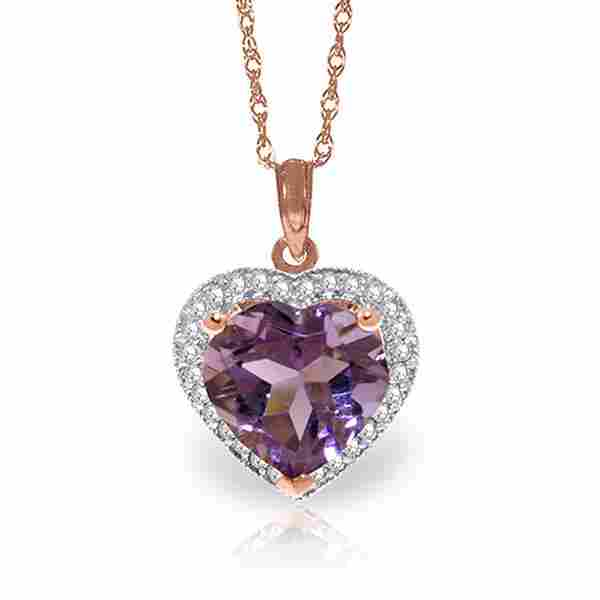 Genuine 3.24 ctw Amethyst & Diamond Necklace Jewelry