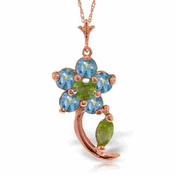 Genuine 0.87 ctw Blue Topaz & Peridot Necklace Jewelry