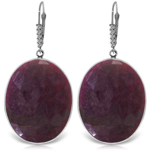 Genuine 39.15 ctw Ruby & Diamond Earrings Jewelry 14KT