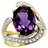Natural 622 ctw amethyst  Diamond Engagement Ring 14K