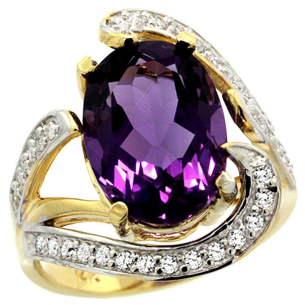 Natural 6.22 ctw amethyst & Diamond Engagement Ring 14K