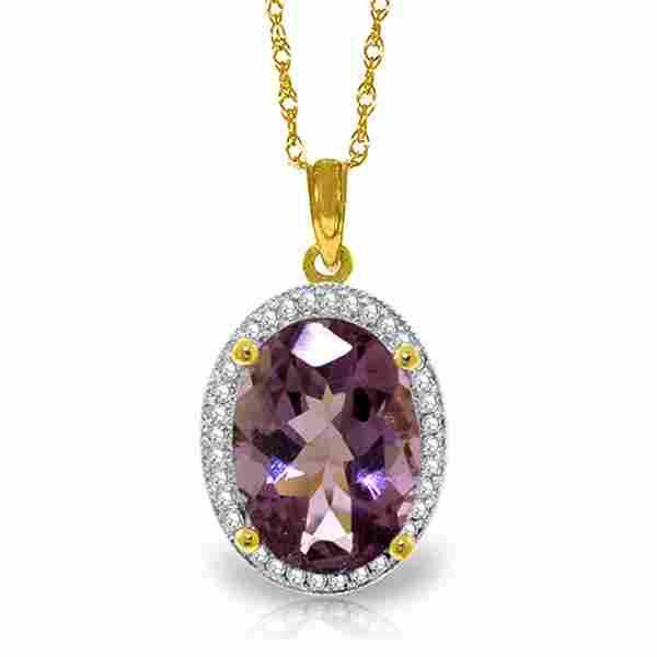 Genuine 5.28 ctw Amethyst & Diamond Necklace Jewelry