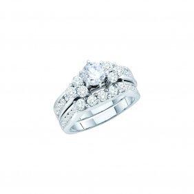 2.75 Ctw Diamond Bridal Set Ring 14kt White Gold -