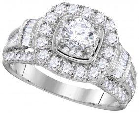 2.62 Ctw Diamond Bridal Set Ring 14kt White Gold -