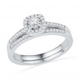 0.33 Ctw Diamond Bridal Set Ring 10kt White Gold -