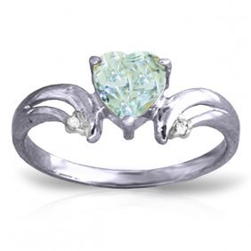 Genuine 0.96 Ctw Aquamarine & Diamond Ring Jewelry 14kt