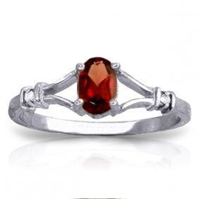 Genuine 0.46 Ctw Garnet & Diamond Ring Jewelry 14kt