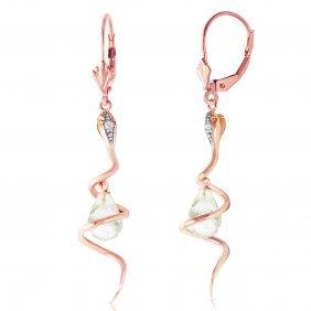 Genuine 4.56 Ctw White Topaz & Diamond Earrings Jewelry