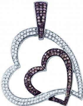 1 Ctw White & Cognac Diamond Pendant 10kt White Gold -