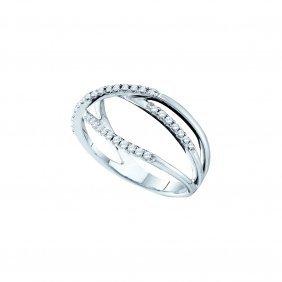 0.2 Ctw Diamond Ladies Ring 14kt White Gold -