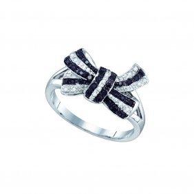 0.2 Ctw Black Diamond Ladies Ring 10kt White Gold -