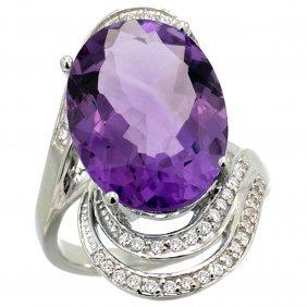 Natural 11.2 Ctw Amethyst & Diamond Engagement Ring 14k