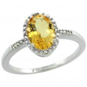 Natural 1.2 Ctw Citrine & Diamond Engagement Ring 10k