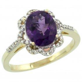 Natural 1.85 Ctw Amethyst & Diamond Engagement Ring 14k