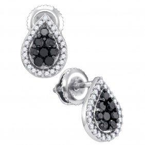 0.5 Ctw Black Diamond Earrings 10kt White Gold -