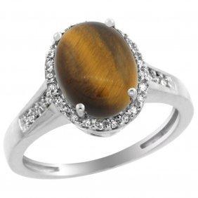 Natural 2.49 Ctw Tiger-eye & Diamond Engagement Ring