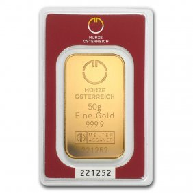 One Pc. 50 Gram .9999 Fine Gold Bar - Austrian Mint In