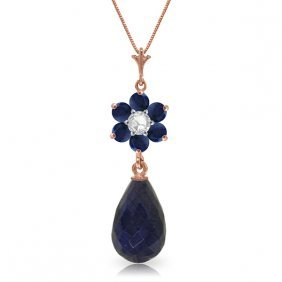 Genuine 3.83 Ctw Sapphire & Diamond Necklace Jewelry
