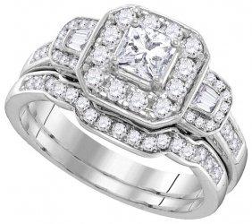 1.18 Ctw Diamond Bridal Set Ring 14kt White Gold -