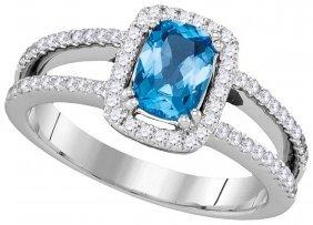 1.18 Ctw Blue Topaz & Diamond Ladies Ring 14kt White