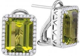 5.66 Ctw Peridot & Diamond Earrings 14kt White Gold -
