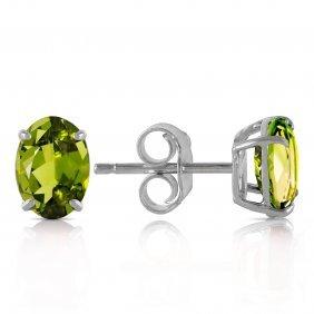 Genuine 1.8 Ctw Peridot Earrings Jewelry 14kt White