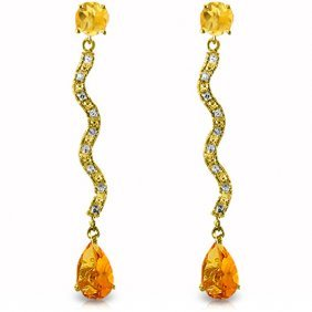 Genuine 4.35 Ctw Citrine & Diamond Earrings Jewelry
