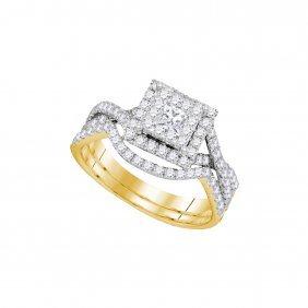 0.85 Ctw Diamond Bridal Set Ring 14kt Yellow Gold -