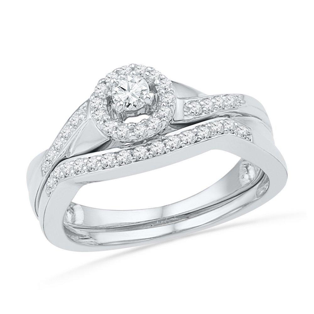 0.35 CTW Diamond Bridal Set Ring 10KT White Gold -