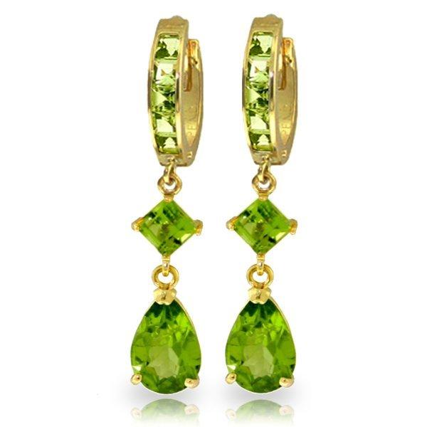 Genuine 5.62 ctw Peridot Earrings Jewelry 14KT Yellow