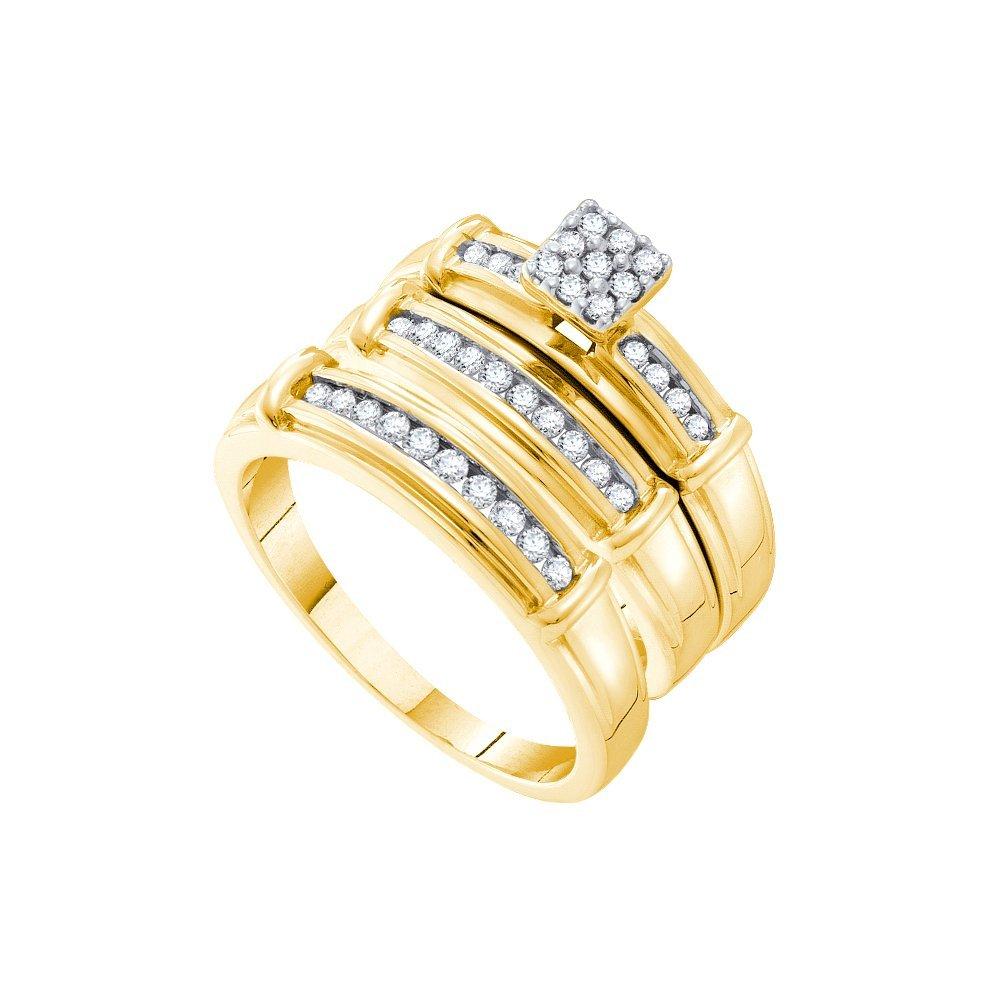 0.35 CTW Diamond Trio Set Ring 14KT Yellow Gold -
