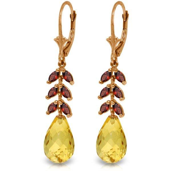Genuine 11.2 ctw Citrine & Garnet Earrings Jewelry 14KT
