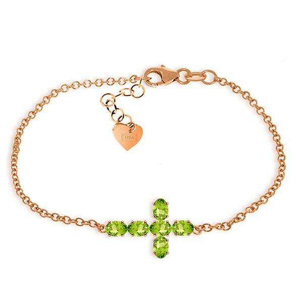 Genuine 1.7 ctw Peridot Bracelet Jewelry 14KT Rose Gold
