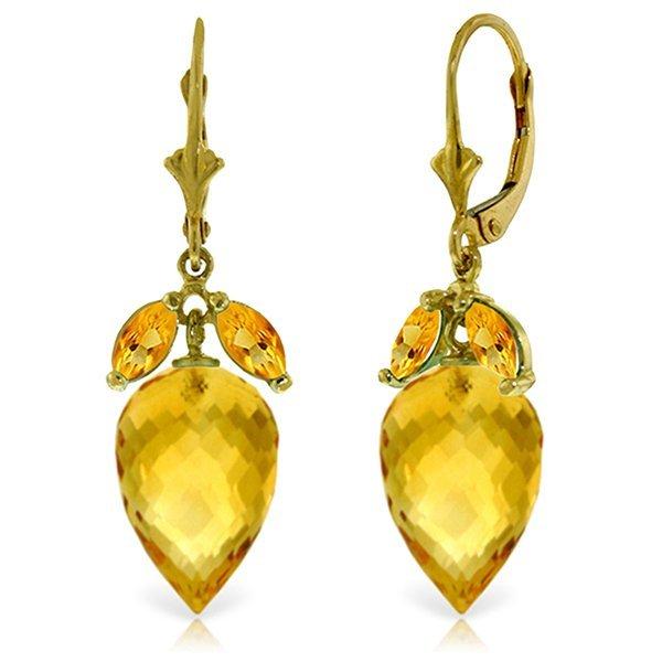 Genuine 20 ctw Citrine Earrings Jewelry 14KT Yellow