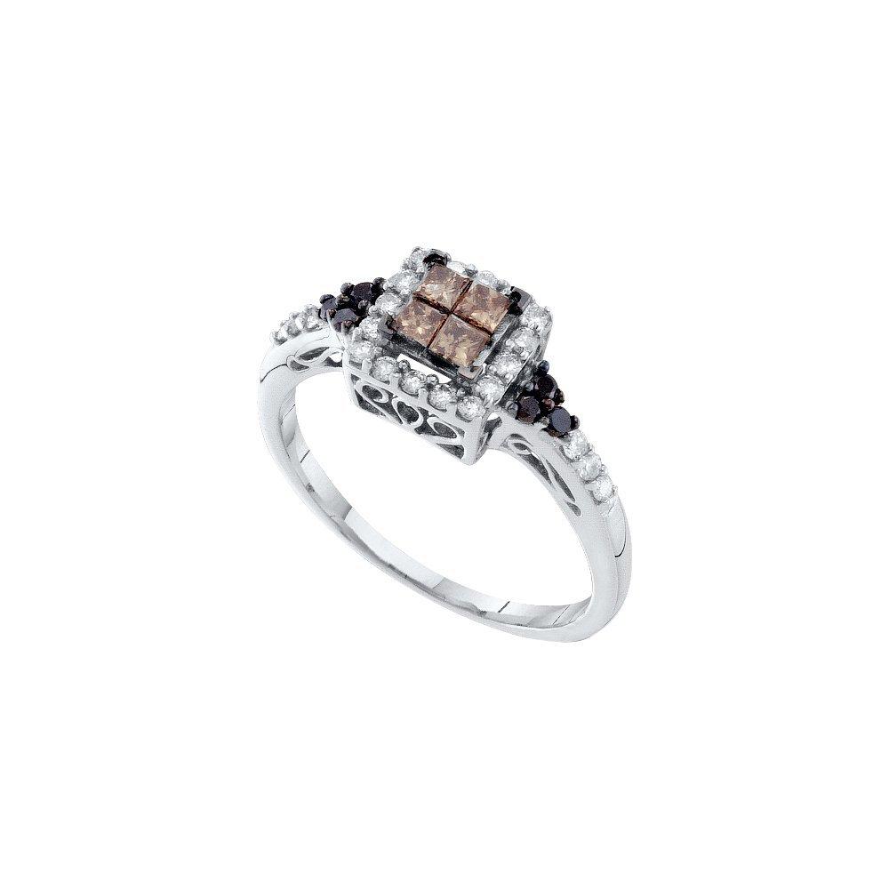 0.5 CTW White & Cognac Diamond Ladies Ring 14KT White