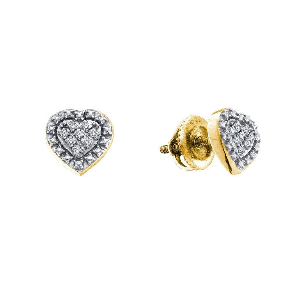 0.05 CTW Diamond Earrings Yellow Rhodium Silver -