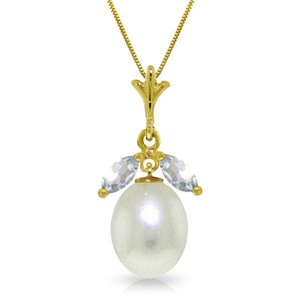 Genuine 4.5 ctw Pearl & Aquamarine Necklace Jewelry