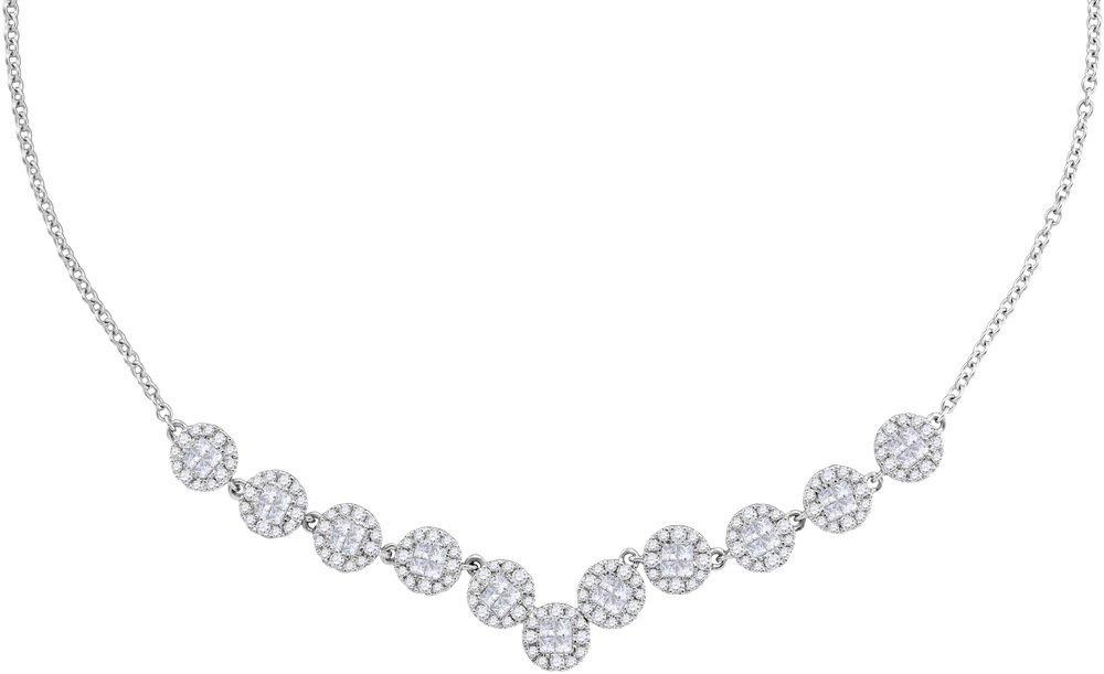 1.85 CTW Diamond Soliel Necklace 14KT White Gold -
