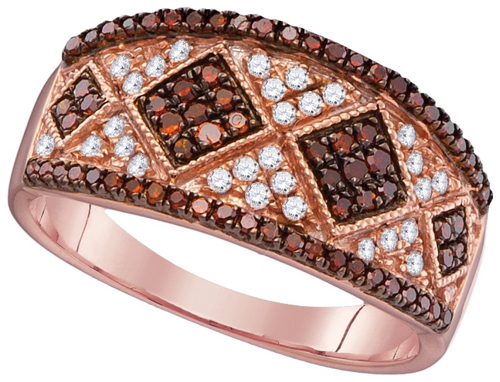 0.5 CTW White & Cognac Diamond Ladies Ring 10KT Rose