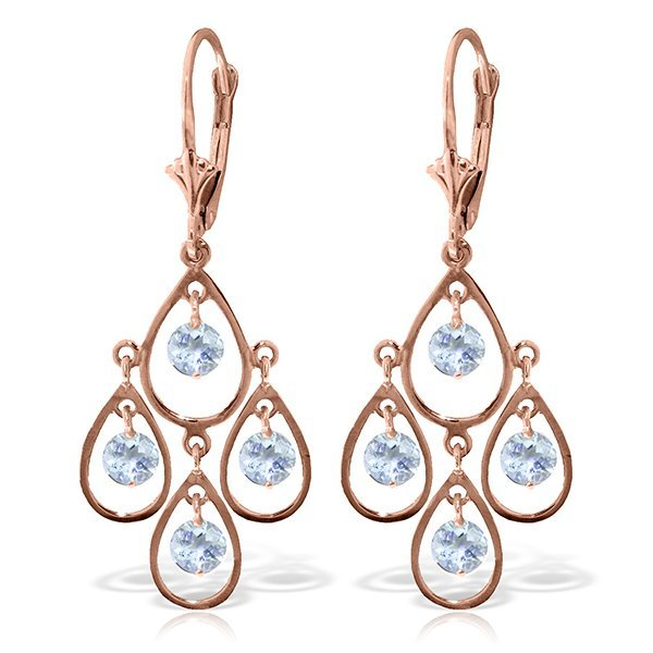 Genuine 2.4 ctw Aquamarine Earrings Jewelry 14KT Rose
