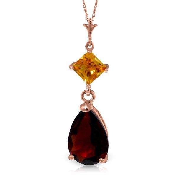 Genuine 2 ctw Garnet & Citrine Necklace Jewelry 14KT