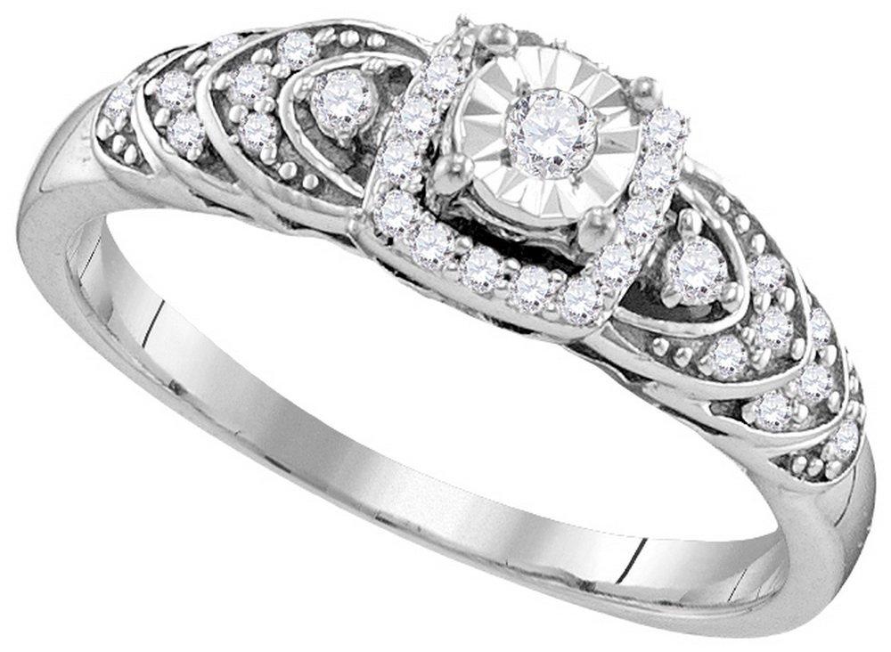 0.2 CTW Diamond Ladies Ring White Rhodium Silver -