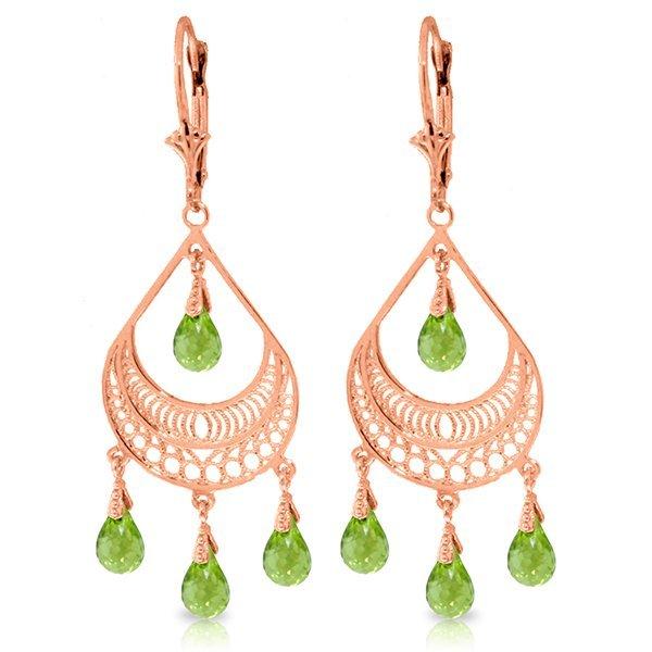 Genuine 6.75 ctw Peridot Earrings Jewelry 14KT Rose